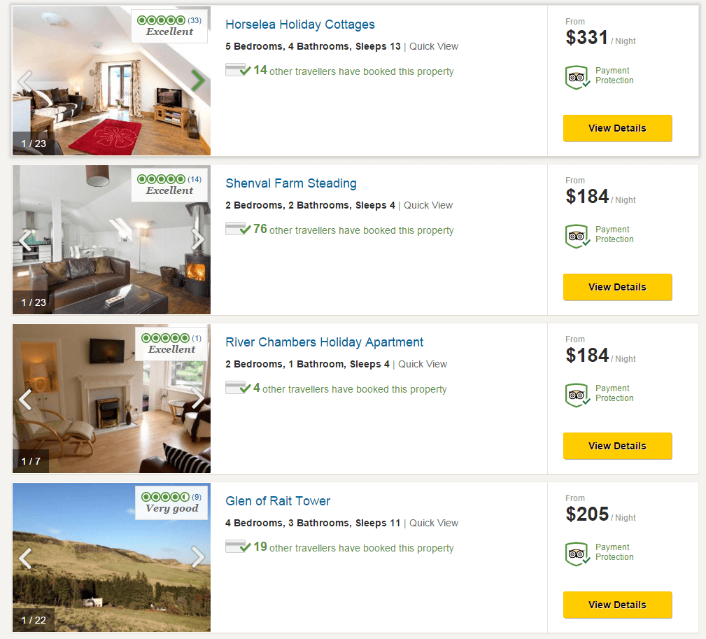 Tripadvisor holiday home listing