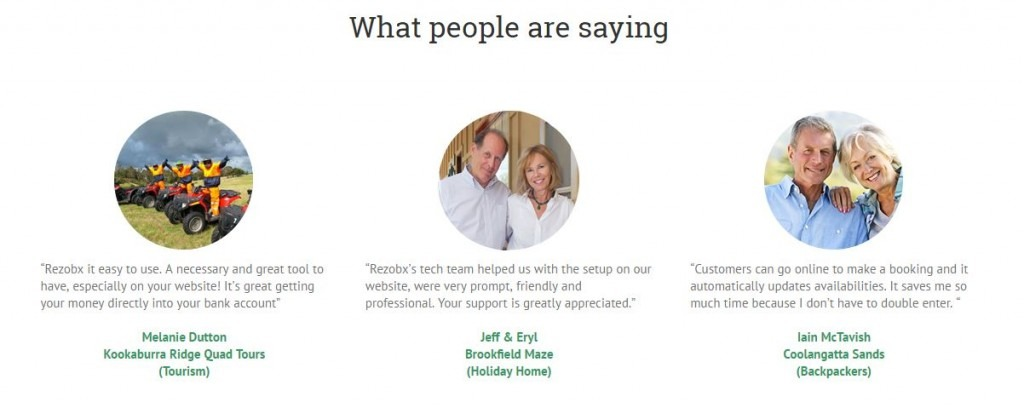 customer testimonials on website
